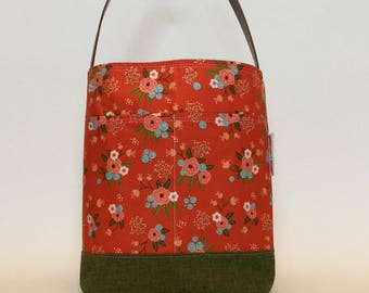 Cotton Tote, Library Bag, Carryall Bag, Book Bag, Floral Tote, Bucket Bag, Gift for Her