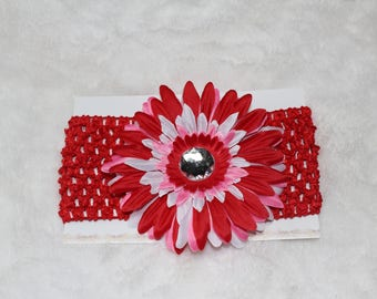 Baby/Toddler Red, Pink & White Gerber Daisy Crochet Headband with Silver Rhinestone