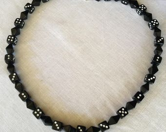 Glass Dice Bead Necklace