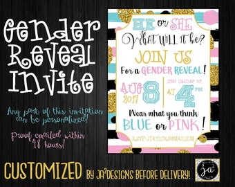 Customizable Gender Reveal Invitation/ Gender Reveal Party/ Boy or Girl/ Personalized Gender Reveal Invitation/ Blue or Pink Gender Reveal