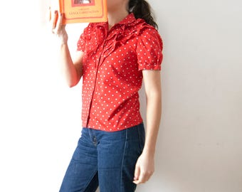 Vintage Red Shirt with Ruffles