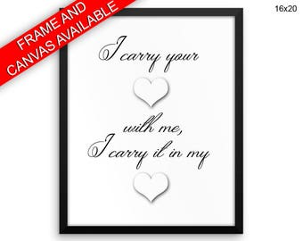 I Carry Your Heart Prints  I Carry Your Heart Canvas Wall Art I Carry Your Heart Framed Print I Carry Your Heart Wall Art Canvas I Carry