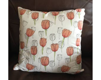 White and Pink Tulip Pillow
