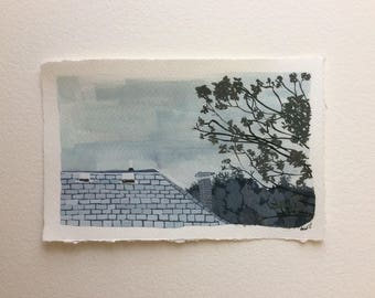Original Gouache Painting Roof & Sky Illustration