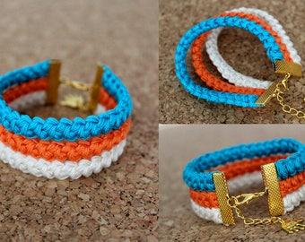 Woven Friendship Bracelet, Ivory/Orange/Turquoise Summer Bracelet, Braided Bracelet, Beach, Boho, Crochet Gift for Her, Cotton Anniversary