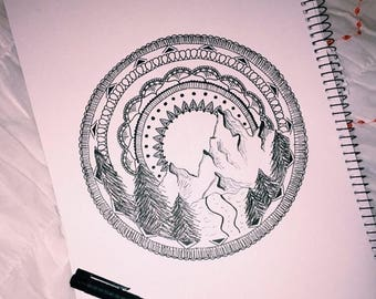 mountain mandala black and white ink drawing