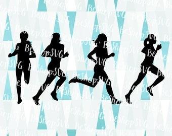 Runner silhouette SVG, Running woman SVG, Runner SVG, Marathon Svg, Sport Svg, Instant download, Runner Clipart, Eps - Dxf - Png - Svg