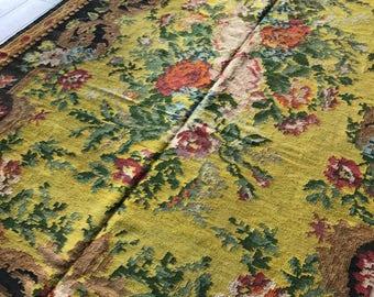 Vintage rug back rose kelim kelim kelim tapis ocher ocher Moldova Moldavia rose KM237, 220 x 375 cm/kilim 7.2 x 12.3 ft