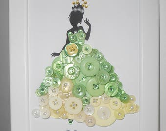 Disney's Princess and the Frog Tiana Inspired Button Art