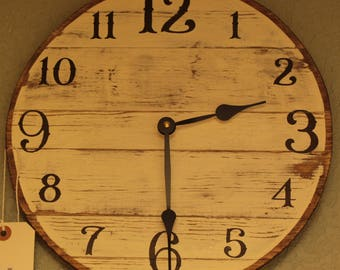 """12"""" Farm House Clock White (distressed) with Arabic Numerals - Rockwall Clock Company"""