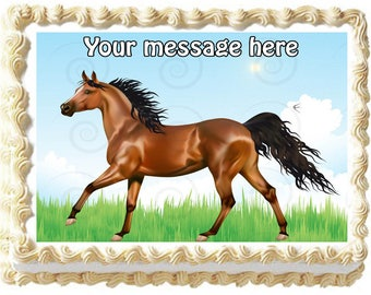 BROWN HORSE edible cake topper party image
