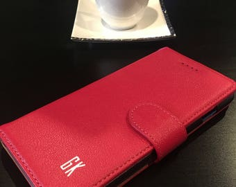 Genuine Leather Apple 6 and 6plus Flip Phone wallet Cases With Personalized Initials.
