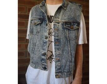 80s 90s hardcore punk grunge acid wash denim vest
