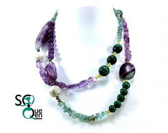 Long necklace of natural gemstones - Amethyst, Malachite, aquamarine...