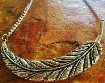 Silver BOHO Angel Feather Necklace - fallen feather angel wing necklace long leaf necklace gothic necklace bohemian handmade vegan