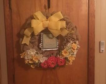 Burlap Yellow Spring Wreath
