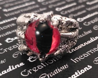 Silver handpainted red eye dragon claw ring gothic