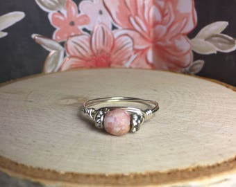 Pink Speckled Wire Wrapped Ring