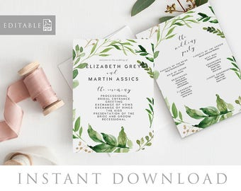 Wedding Program Editable pdf Template, INSTANT DOWNLOAD, Wedding Timeline, Flat, Order of Service, Order of Events, Thin - Woodland