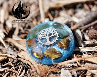 Orgone Pendant/Orgone Jewelry: Tree Of Life, Silver, Tiger's Eye, Fancy Jasper