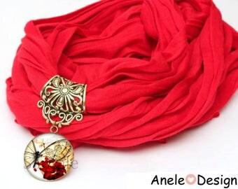 Scarf scarf red jewel Butterfly Magic Pompom
