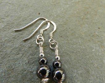 Hematite Earrings, Stering Silver Ear Wires, Dangle Drop Earrings, Simple, Semi Precious, Gift, Haematite Drop Earrings