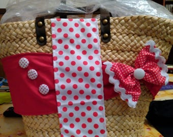 Decorated straw bag