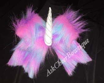 Unicorn Fur LED Light Up Cheer Bow