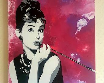 "Original acrylic painting of Audrey Hepburn on canvas, 24"" x 36"""