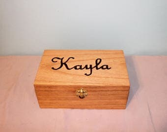 Woodburned Box with Name