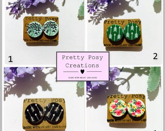 Wooden hand painted stud earrings surgical steel circle green black arrow sage pink floral