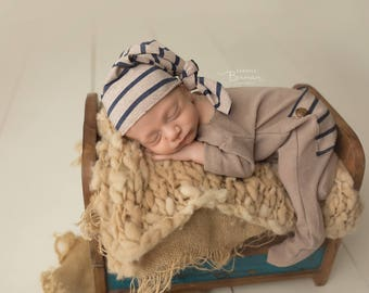 Aiden - Newborn Hat and Romper Photography Prop, Made to Order, Newborn Prop, Photography Prop, Photo Prop, Sleep Hat