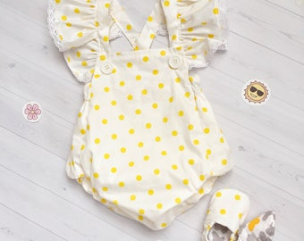 baby romper- baby girl Romper -Girls Sunsuit -Baby Bubble Romper - Ruffle Romper- vintage outfit- baby outfit- posh