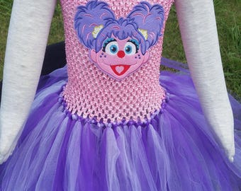 Abby Cadabby tutu dress/princess/Inspired by Abby Cadabby/Sesame street/gifts for girls/Halloween costume/chunky necklace/bow/Disney