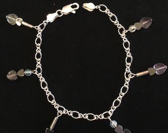Sterling silver bracelet with heart charms purple clear hematite