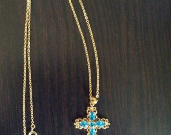 Gold Cross with Blue Gemstones