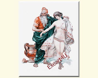 Herouard Erotic Oriental Eastern Prostitution Art Print Mounted Picture Female Beauty Desire