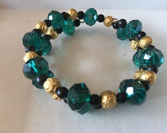 Teal Green Memory Wire Bracelet with Gold and Black Accents
