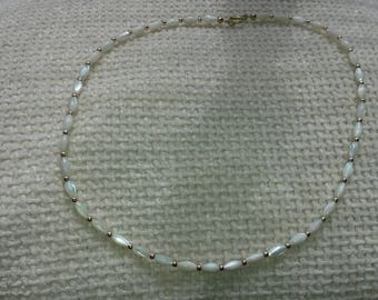 1980's, vintage, oval faux pearl necklace.