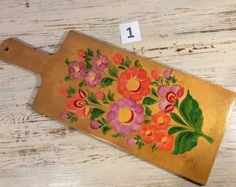 Vintage 70s Hand Painted Wood Bread Cutting Board Russian art No.1