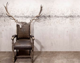 Taxidermy statement stag antler leather medieval game of thrones chair