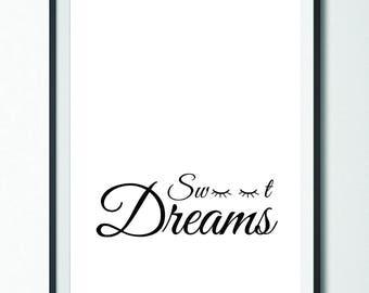 Sweet Dreams // Bedroom Decor // Bedroom Print // Bedroom Wall Art // Black and White // Printable Art // Wall Art // Home Decor