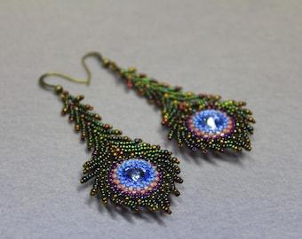 Bead earrings Peacock feather