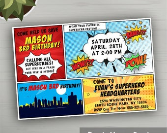 Comic Invitation, Superhero Invitation, Superhero Birthday Invitation, Superhero Party, Superhero Printables, Superhero Party Printables