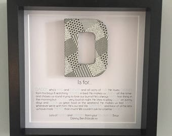 D is For... Personalised Father's Day Embellished Box Frame picture