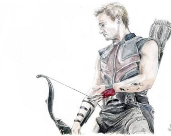Clint Barton Hawkeye watercolor