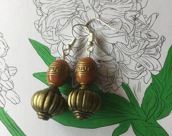 Bronze bead drop earrings