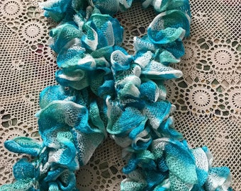 Ruffled Scarf Ice Blue to Freshen and Brighten Your Outfit with Cool Elegance