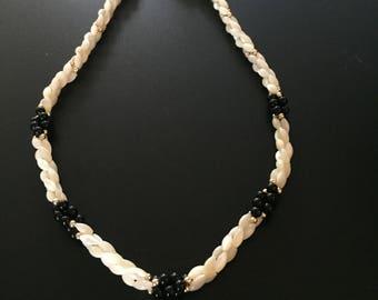 Vintage White Braided Stone Necklace