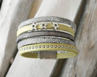 CLEARANCE leather Cuff Bracelet gray and light yellow with small loops stars (BR66)